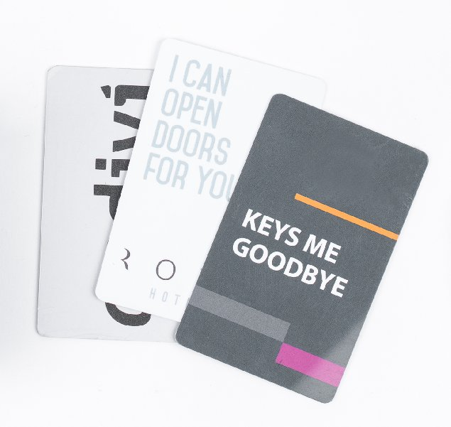 hotel registration card holder with key