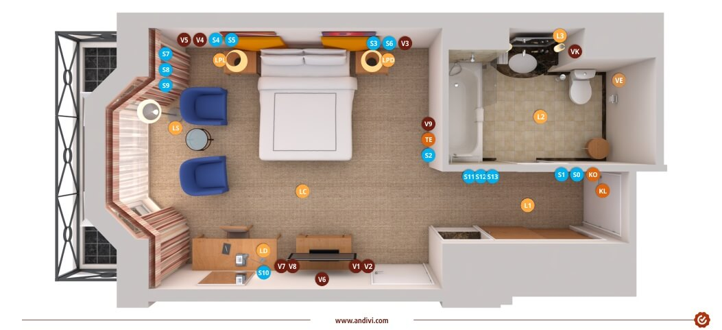 Electrical installations: Electrical layout plan for a typical hotel on controller cabinet, controller accessories, controller cable, controller computer diagram, controller battery,
